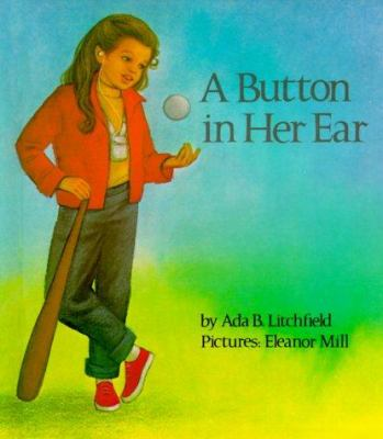 A button in her ear