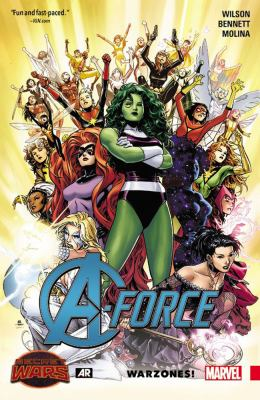 A-Force. Vol. 0, Warzones / writers, Marguerite Bennett & G. Willow Wilson ; penciler, Jorge Molina ; inkers, Jorge Molina, Craig Yeung & Walden Wong ; colorists, Laura Martin with Matt Milla (#1) ; letterer, VC's Cory Petit ; cover art, Jim Cheung & Laura Martin.