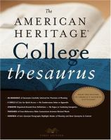 Go to record The American heritage college thesaurus.