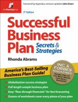 Successful business plan : secrets & strategies  Cover Image