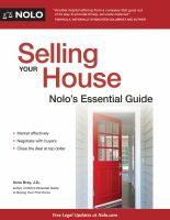 Selling your house : Nolo's essential guide  Cover Image