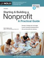 Starting & building a nonprofit : a practical guide  Cover Image