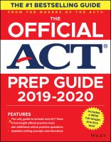 """The official ACT prep guide, 2019-2020 by """"Includes a NEW full length practice test!"""" -- Cover."""