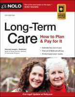 Long-term care : how to plan and pay for it Book cover