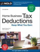 Home business tax deductions : keep what you earn Book cover