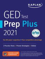 GED test prep plus 2021 : 2 practice tests + proven strategies + online  Cover Image