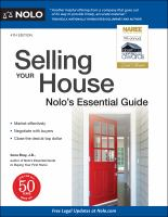 Selling your house : Nolo's essential guide Book cover