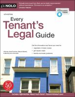 Every tenant's legal guide Book cover