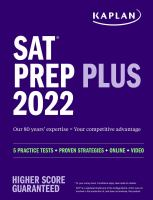 """SAT prep plus 2022. by """"5 practice tests + proven strategies + online + video""""--Cover."""