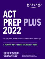 """ACT prep plus 2022. by """"Our 80 years' expertise = Your competitive advantage""""--Cover."""